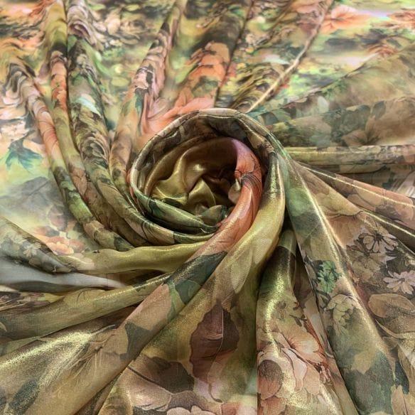 Chiffon Foil Estampado Green Orange • Luema Tecidos