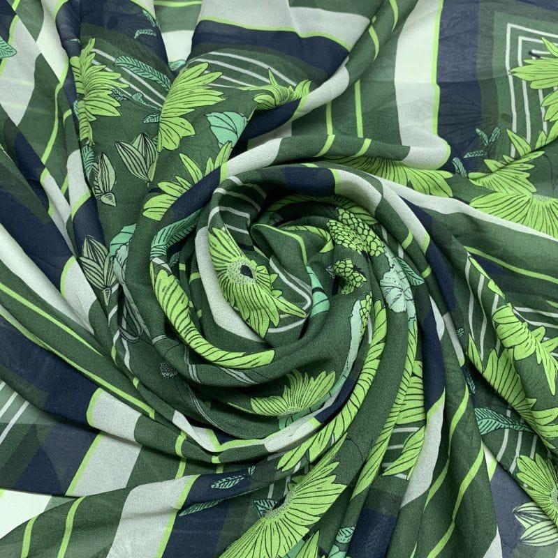 Musseline de Seda Pura Lenços Verde • Luema Tecidos