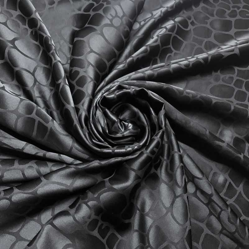 Cetim de Seda Pura Jacquard Preto • Luema Tecidos