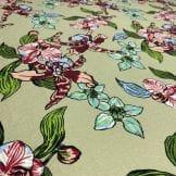Tecido Viscose Estampada Floral Colorido Fundo Marinho • Luema Tecidos
