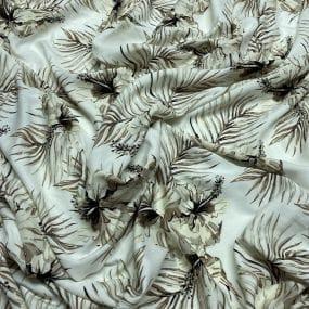 Tecido Viscolycra Estampada Cordas Fundo Laranja • Luema Tecidos