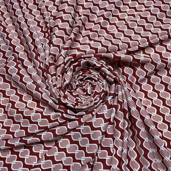 Viscose Estampada Elos Vermelho • Luema Tecidos