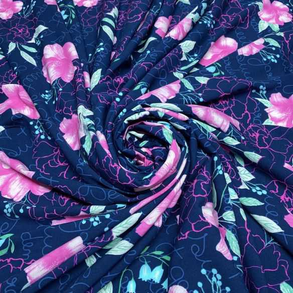 Viscose Estampada Leque Floral