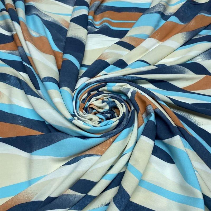 Tecido Crepe de Chine 100% Seda Folhagens Azul • Luema Tecidos