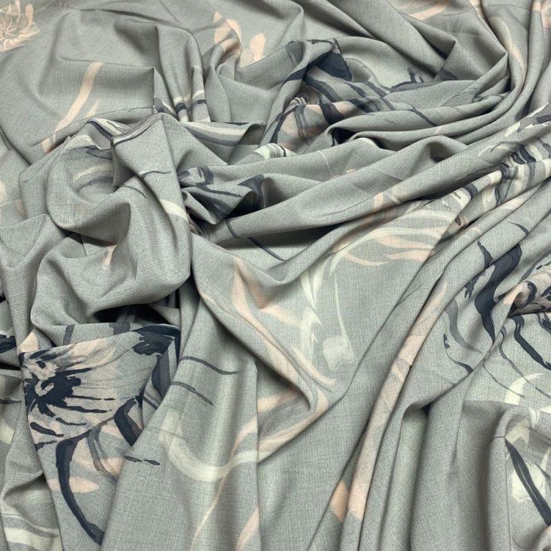Tecido Crepe de Chine 100% Seda Mandala Fundo Marrom • Luema Tecidos