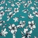 Tecido Crepe de Chine 100% Seda Floral Vermelho • Luema Tecidos