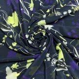 Tecido Linho Puro Estampado Crisantemo Fundo Laranja • Luema Tecidos